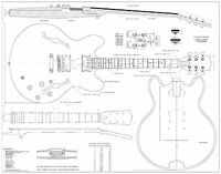 Gibson es-335   electric  archtop jazz GUITAR PLANS  - Full scale   detailed