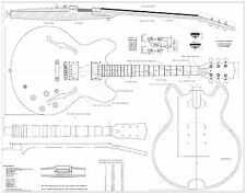 Gibson es-335   electric  GUITAR PLANS  - Full scale