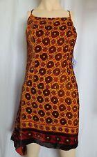 Anna Sui for Target Retro Orange gold Velvet Asymmetrical Dress SZ 9 NWT Silk Bl