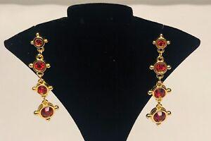 Swarovski Drop Dangle Gold Tone Earrings Red Crystals