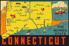 Vintage Travel Decal Replica Window Cling - Connecticut