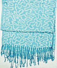 Weichem Licht Blau & Silber grau lang mit Fransen Stola/Schal/Wrap, la136