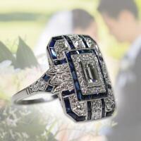 6-10 Edle Silber Weißer Topas & Blauer Saphir Ring Hochzeit Braut Frauen-Schmuck