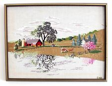Framed Large Embroidered Picture 25 x 19 Country Scene Horses Trees Nature Wood