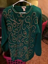 Green Sweater With Gold Beads