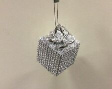 4 Silver Bling / Diamante Gift Box Christmas Tree Decorations / Ornaments 4""