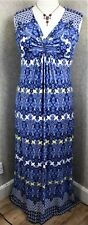 Per Una ~ size 16 ~  blue & yellow Paisley print, V-neck, stretch maxi dress