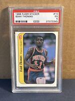 1986 Fleer Basketball Sticker ISIAH THOMAS #10 PSA 5 EX Pistons rookie RC