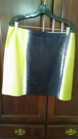 9288) TAHARI  16 green blue straight skirt above knee cotton stretch lined 16