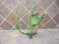OAXACA WOOD CARVING GORGEOUS IGUANA  MEXICAN FOLK ART