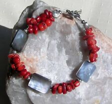 """Natural Red Coral & Black Mother of Pearl Bracelet """"Chic Berry"""""""