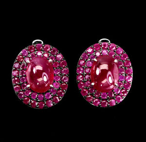 Oval Red Ruby 8x6mm Ruby Round Diamond Cut 925 Sterling Silver Earrings