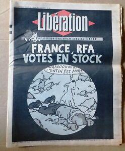 Libération. N° pour la mort de Hergé. 8 et 9 mars 1983 FRANCE RFA VOTES EN STOCk