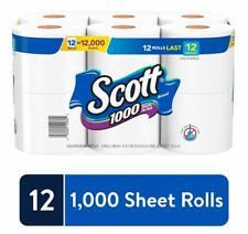 12 Rolls Scott 1000 Sheets Toilet Tissue Paper Septic Safe 1Ply Bulk Value Soft