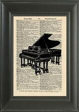ORIGINAL- Grand Piano Art Print on Vintage Dictionary Page - Wall Art Print 220B