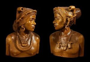Hand Wood Carved Native Bust Male Female Man Woman Head Sculpture Art Set of 2