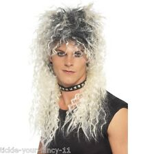 Men's 80s hard rocker perruque punk frisée blonde rock roll rétro robe fantaisie star