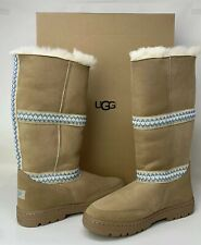 UGG SIZE 8 ULTRA TALL REVIVAL TASMAN BRAID SAND SUEDE SHEEPSKIN WOMENS BOOTS