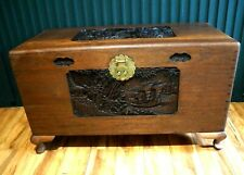 More details for antique heavy large camphor chinese chest oriental trunk ottoman blanket box p&p