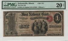 1865 $1 Original Series National Banknote Currency Jacksonville Illinois PMG 20