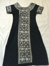 Black White Mirror Embroidery Designer Long Kurta Top with Tights Tunic