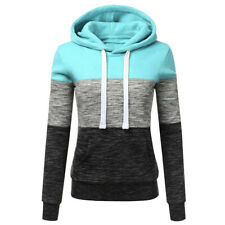 Fashion Women's Casual Hoodies Sweatshirt Patchwork Hooded Blouse Pullover CA