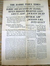 """BEST 1927 Barre VERMONT newspaper """"emergency issue"""" GREAT VERMONT FLOOD of BARRE"""