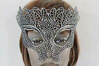 Women Half Face Eye Costume Mask Black Fabric Halloween Mardi Gras Gothic Party