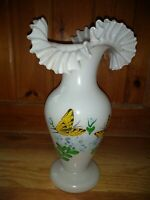 Vintage Italian Ruffled Glass Vase Hand-painted