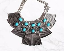 Tibetan silver turquoise statement necklace. Boho/hippy/gypsy/vintage/antique