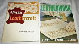 2 Vintage STOHLMAN & CHERRY Leathercraft Tooling Tips Patterns Books 1958 & 69