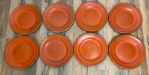 "Catalina Island Pottery Set of 8 Orange Plates 7"" Clay Plate LOT Rare"