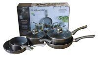 Cermalon 5Piece Ceramic Pot Pans Set Aluminium Pewter 46x29x13cm Cooking SALE