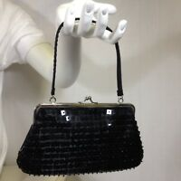 Evening Bag Black Micro Beaded Sequin Handle Kiss Lock Satin Lined Handbag Prom
