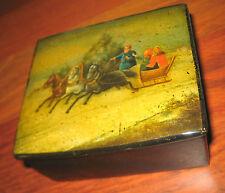 ANTIQUE IMPERIAL RUSSIAN VISHNIAKOV LACQUER BOX TROIKA