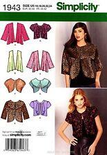 Simplicity Sewing Pattern 1943 Women's 16-24 knit and woven Jackets bolero