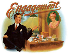 ENGAGEMENT CIGAR MAN SMOKING PICTURE OF WOMAN WITH RING VINTAGE POSTER REPRO