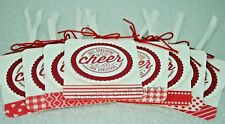 "8 x Gift Tags ""Just Spreading Cheer This Christmas"" - RED & WHITE Xmas Card Tag"