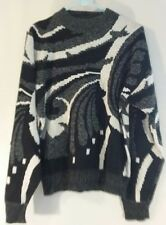 Abstract Print Black White 80s 90s Frontline Sweater Medium Aesthetic Vintage