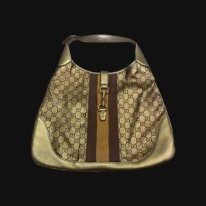 Vintage Gucci Jackie Web Large Gold Monogrammed Logo  Leather Hobo Bag