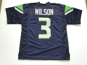 UNSIGNED CUSTOM Sewn Stitched Russell Wilson Blue Jersey - M, L, XL, 2XL