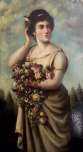 19th Century Pre-Raphaelite Oil Painting LADY WITH FLOWERS Indistinctly Signed