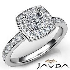 Cushion Diamond Halo Pave Set Engagement Ring GIA E VVS2 18k White Gold 1.16Ct