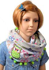 Tuch Loopschal für Kinder Mädchen Eule bestickt bunt gemustert Bommelborte