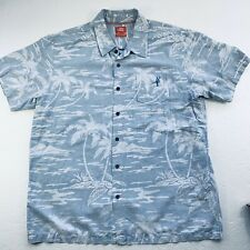 Toes on the Nose Mens Size XXL Blue White Button Up Shirt Hawaiian Style