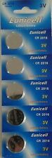 EUNICELL 5 PILES 3V Lithium CR2016 EUNICELL sous blister
