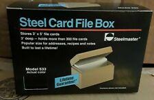 Vintage Nos Steelmaster 533 Black Steel File Box 3 X 5 Index Card Holder
