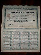 ACTION DE 100 FRANCS / SOCIETE ANONYME D'EXPLOITATIONS FONCIERES 1928
