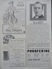 1915 ADVERTS CREPE DE CHINE COAT PETER ROBINSON'S, COCKLE'S PILLS WW1 WWI