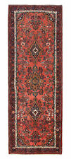 Vintage Persian Malayer Design Runner, 4' x 10', Rose/Blue, All wool pile